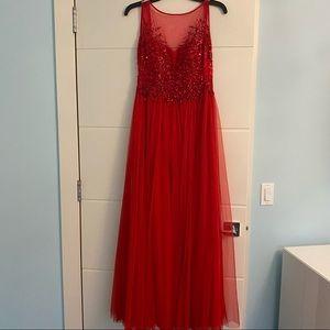 BASIX Black Label Red Sequin Dress - Size 0/00